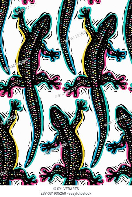 Vector reptilian seamless pattern, lizards top view continuous background. Rain forest fauna wallpaper for use in graphic design
