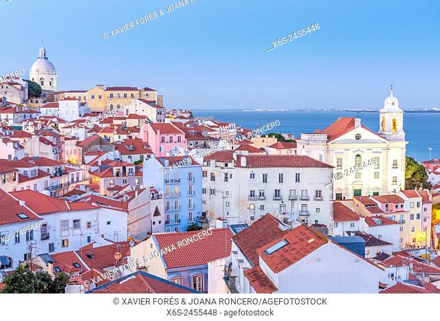 View of Alfama quarter from Mirador de Portas do Sol, Lisboa, Portugal