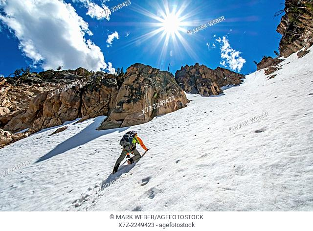 climbing the Chockstone Couloir, AKA the Boy Scout Couloir an alpine route which is rated Grade 3, Class 4 and located on The Grand Mogul in the Sawtooth...
