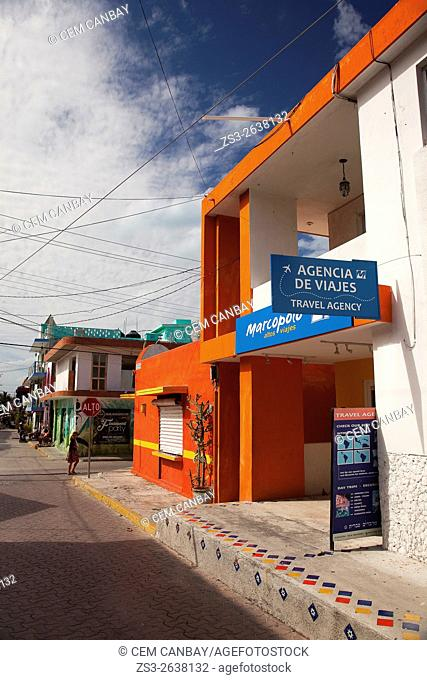 Colorful buildings at the town center, Isla Mujeres, Cancun, Quintana Roo, Yucatan Province, Mexico, North America