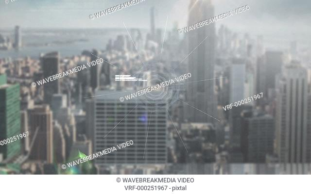 Digital animation of Online global community screen against cityscape