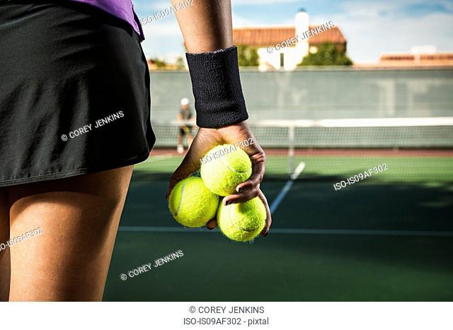 Female player tennis court, close up