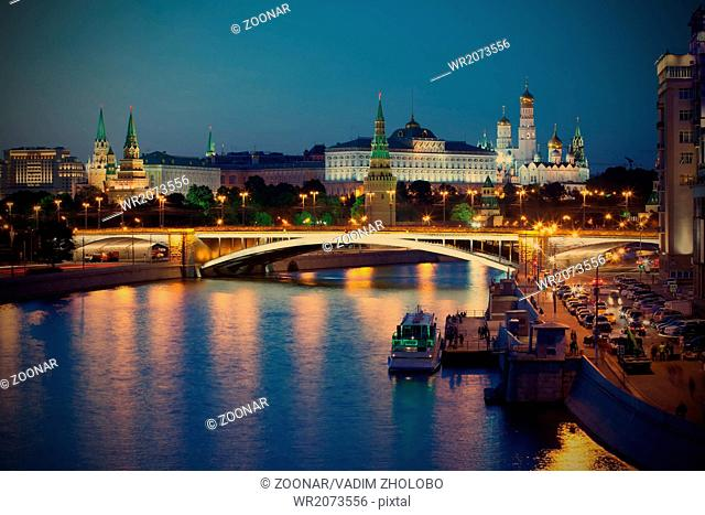 Russia, night view of Kremlin, Moscow