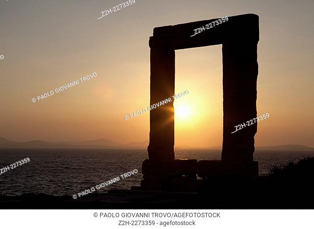 Gate of the temple of Apollo, Portara, Naxos Town, Naxos, Cyclades Islands, Greece