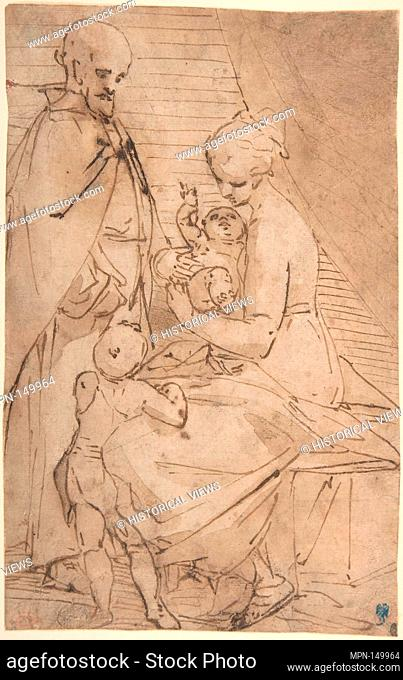 The Holy Family with the Infant Baptist. Artist: Luca Cambiaso (Italian, Moneglia 1527-1585 Madrid); Date: 1527-85; Medium: Pen and brown ink