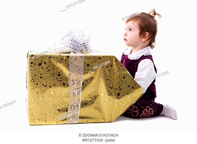 Girl with gift isolated