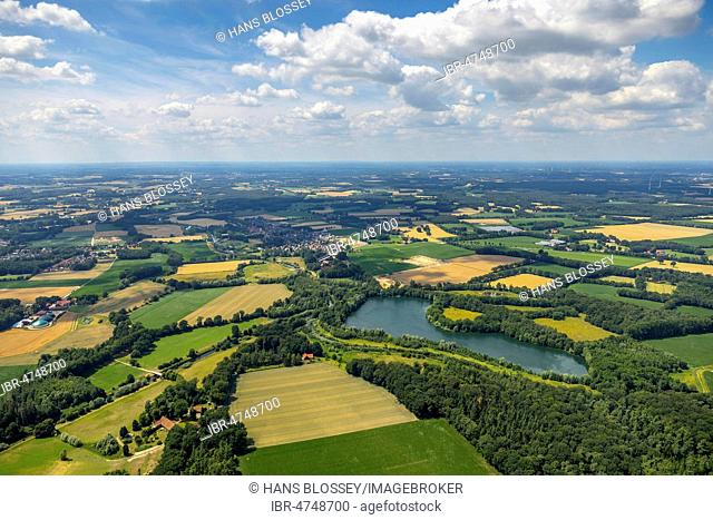 Aerial view, Ems Hessel Lake, fields and meadows, near Warendorf, Münsterland, North Rhine-Westphalia, Germany