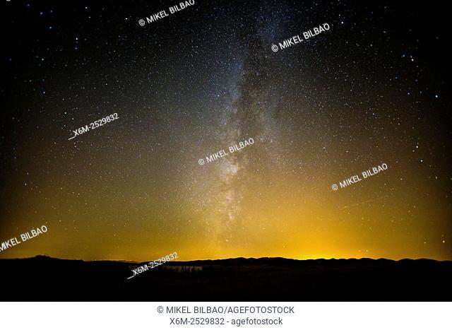 Milky Way galaxy in nocturnal sky. Navarre, Spain, Europe