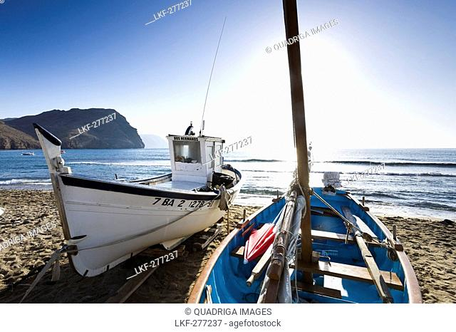 Fishing boats on the beach near Las Negras village, Province Almeria, Andalucia, Spain