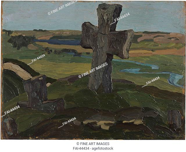 Izborsk. Truvor's Cross by Roerich, Nicholas (1874-1947)/Oil on playwood/Symbolism/1903/Russia/State Oriental Art Museum, Moscow/30,5x40,5/Landscape