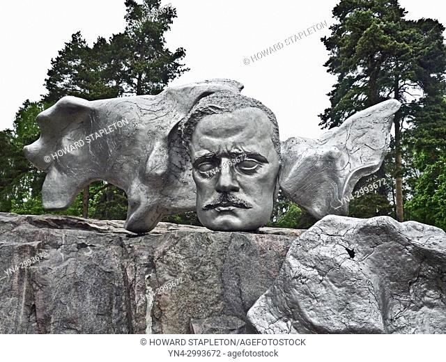 Head of composer Jean Sibelius part of the Sibelius monument by Eila Hiltunen in the Sibelius park at Helsinki, Finland