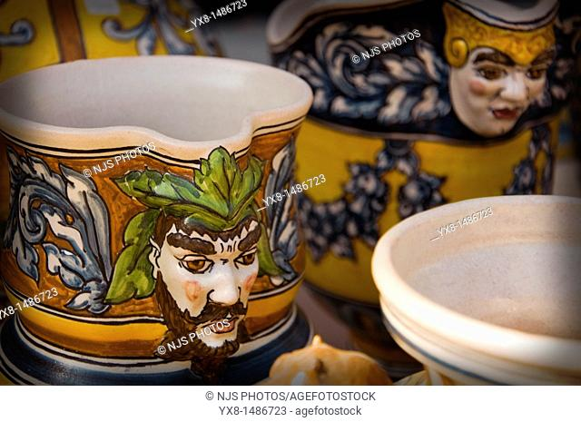 Ceramic cups in a Sample of handcrafts in Madrid, Spain, Europe