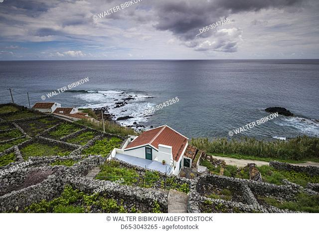 Portugal, Azores, Santa Maria Island, Maia, elevated view of town and volcanic rock vineyards
