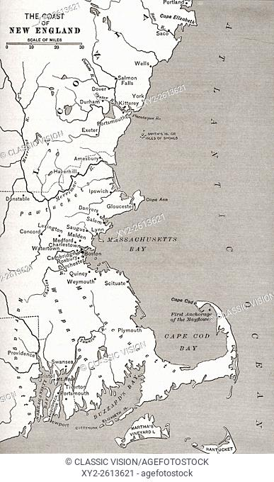 Map showing the settlements in the New England Colonies, North America in the 17th century. From The History of Our Country, published 1899