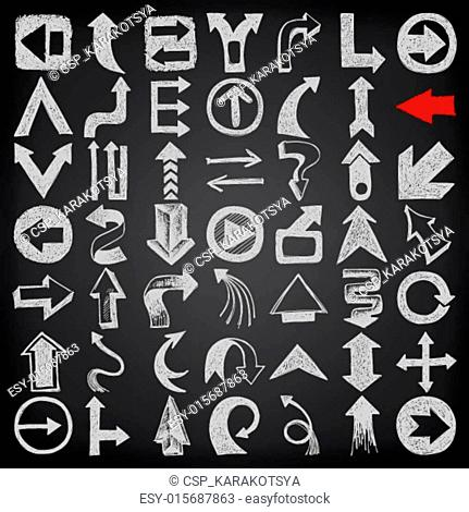 49 hand draw sketch arrow element collection, icons set on black background