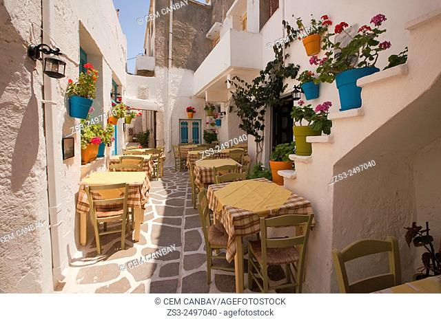 Open-air restaurant in the alleys of the old town with colorful flower pots hanging on the walls, Naxos, Cyclades Islands, Greek Islands, Greece, Europe