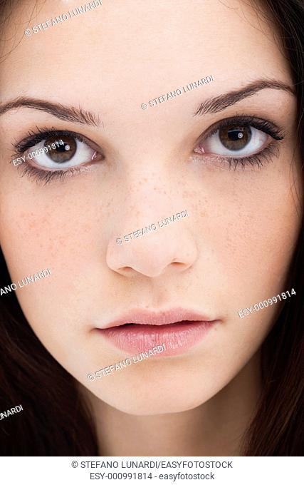Full frame macro image of a beautiful teenage girl