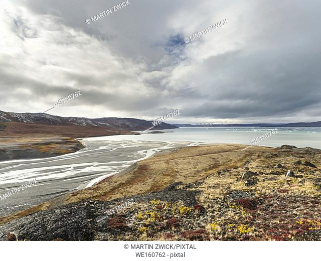 Tundra near glacier Eqip (Eqip Sermia) in western Greenland. America, North America, Greenland, Denmark