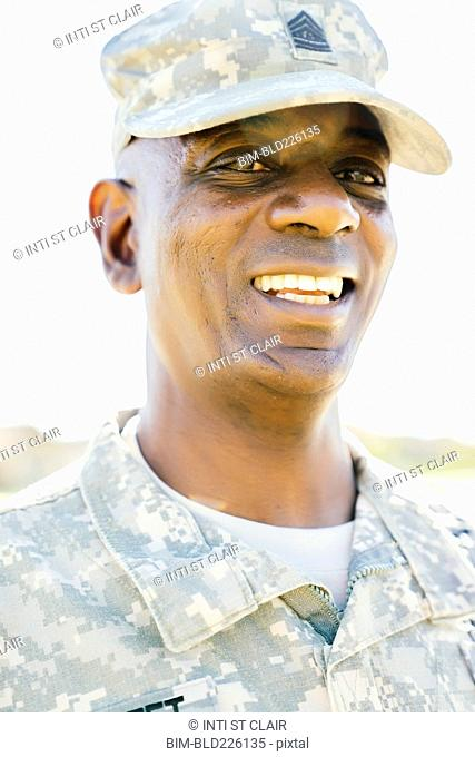 Black soldier smiling