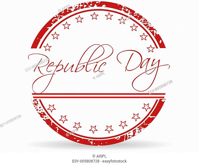 Red grunge rubber stamp of Republic Day on white background. Vec
