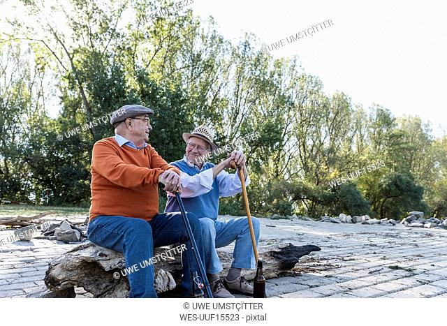 Two old friends sitting on a tree trunk by the riverside, sharing memories