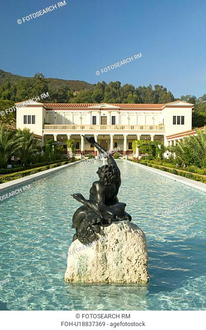 Colonnade and long pool of the Getty Villa, Malibu Villa of the J. Paul Getty Museum in Los Angeles, California