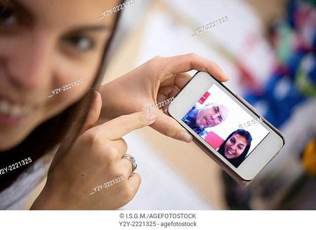 """Girl with phone and """"""""Selfie"""""""""""