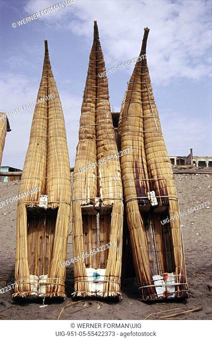 Three caballitos, little horses, made of totora reed - an ancient Peruvian type of boat