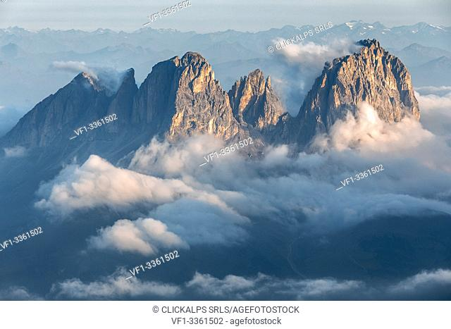 Sassolungo group as seen from Marmolada, Dolomites, Trentino South Tyrol, Italy