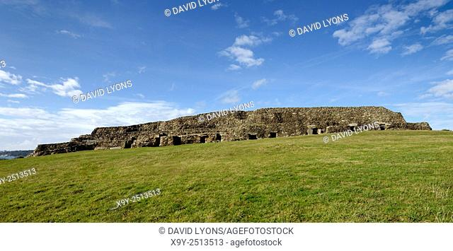 Early Neolithic 6800 year old Cairn Tumulus Mound of Barnenez contains 11 passage grave chambers. Plouezoc'h, Finistere, France