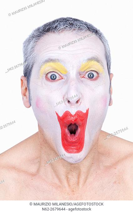 Portrait of a Clown astonished shirtless front view