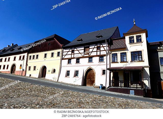 Utery, a small picturesque West Bohemian town, Czech Republic Cobblestoned square