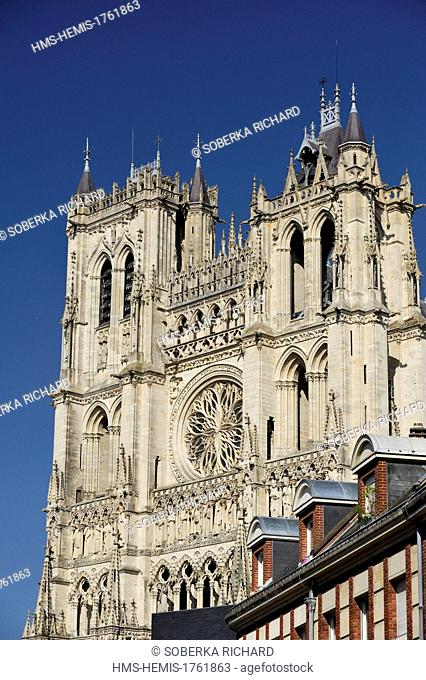 France, Somme, Amiens, Notre Dame Cathedral of Amiens listed as World Heritage by UNESCO, the two towers and the rosace