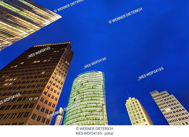 Germany, Berlin, Potsdamer Platz, illuminated skyscrapers