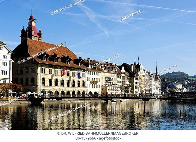Town hall above the Reuss river, Lucerne, Canton of Lucerne, Switzerland, Europe