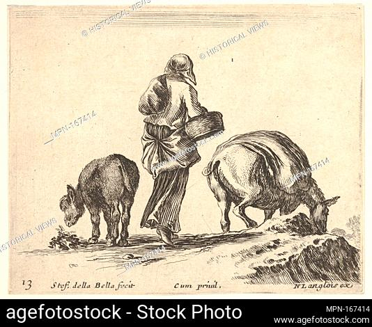 Plate 13: a peasant woman, seen from the back, holding a basket in center, a donkey to left and a horse with a pack on its back to right