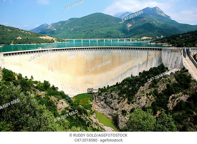 Catalunya, Spain, La Baells dam at practically full capacity of 109 cubic hectometers on the Llobregat river, near Berga village municipality of Bergueda