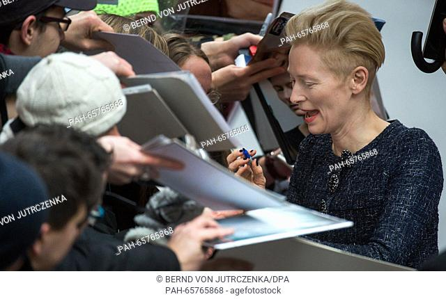 66th International Film Festival in Berlin, Germany, 11 February 2016. Photo call -Hail Ceasar!-: Tilda Swinton arrives. The film is out of competition