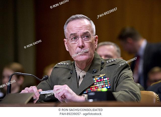 The Chairman of the Joint Chiefs of Staff, United States Marine Corps General Joseph F. Dunford, Jr., testifies at a US Senate Committee on Appropriations...