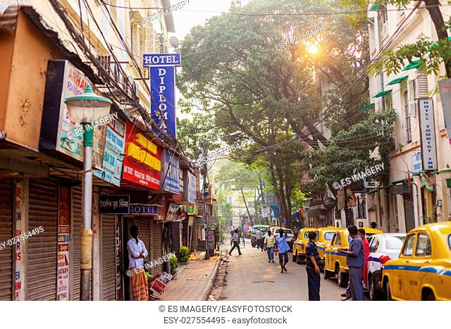 Taxis line the side of tourist hotspot Sudder Street on the morning in Kolkata (Calcutta), India