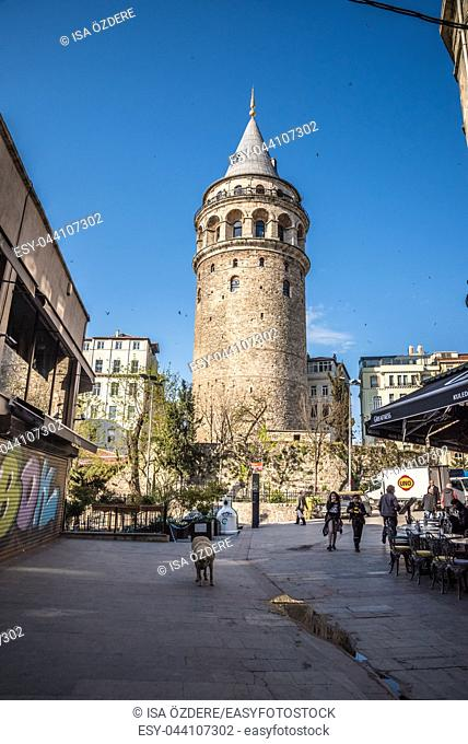 View of old Galata Tower,famous medieval landmark architecture in Istanbul, Turkey