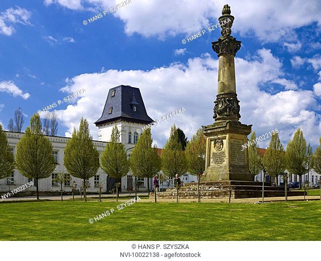 Market square with War Memorial in Putbus, Rügen Island, Mecklenburg Western Pomerania, Germany