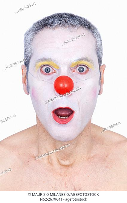 Portrait of a Clown shocked shirtless front view