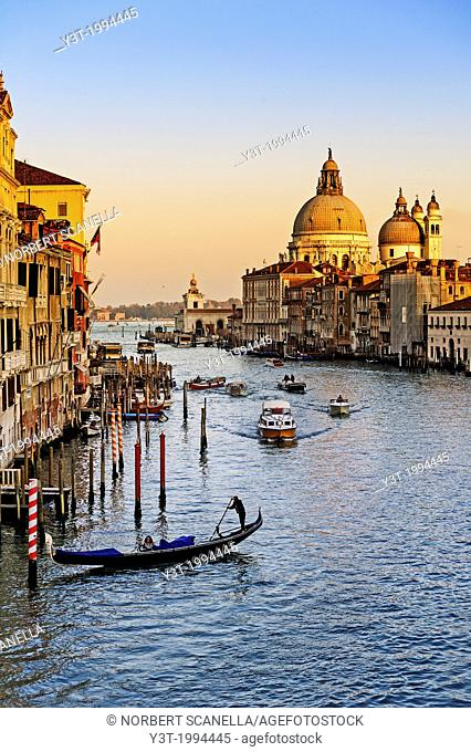 Europe, Italy, Veneto, Venice, classified as World Heritage by UNESCO. The Grand Canal from the bridge of the Academia and Our Lady of the Salute