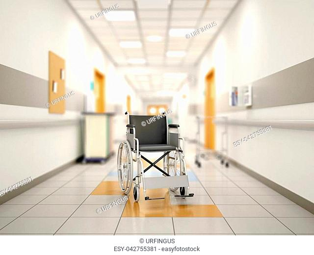 Wheelchair in the hospital corridor. 3d illustration