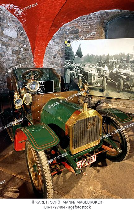 De Dion Bouton Swift, racing car of 1902, museum of the Circuit de Spa-Francorchamps race track, Stavelot Abbey, Ardennes region, Liège province