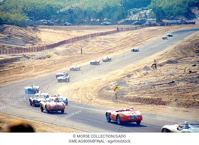 Action view of sports cars cruising along the track during the SCCA National Races in Bridgehampton, New York, May 31, 1959