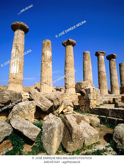 The Temple of Castor & Pollux (5th century BC), Valley of the Temples (Sicily's Oldest Tourist Site), Agrigento. Sicily, Italy