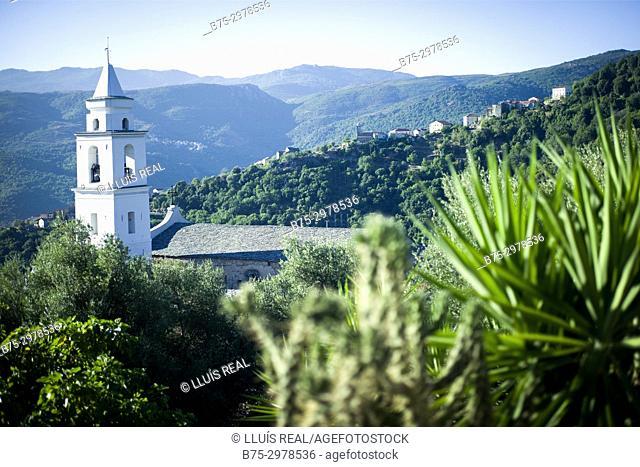 View of a village with the Church. Santo-Pietro-di-Tenda, Corsega, France