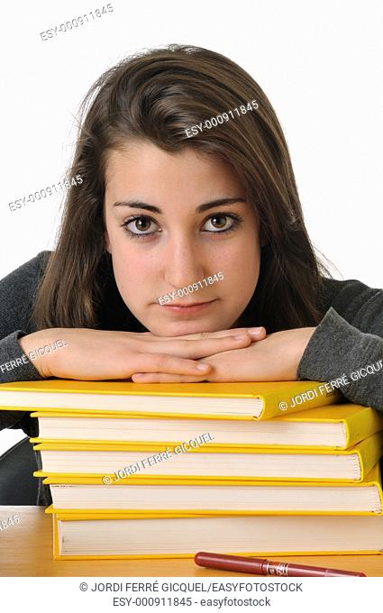 Bored adolescent girl student resting